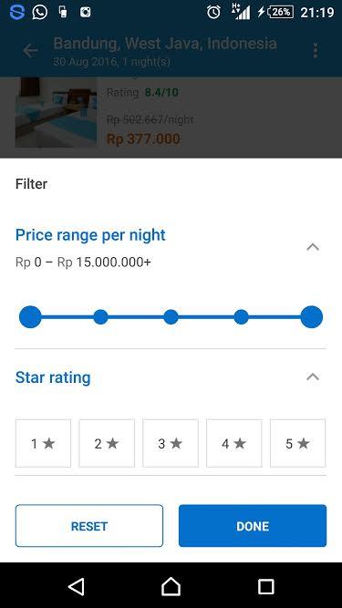 #Traveloka range per night